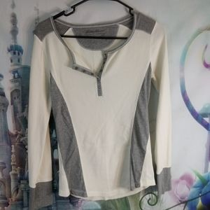 Eddie Bauer Gray and white thermal shirt